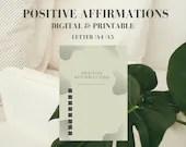 Positive Affirmations Planner, Printable Planner, Digital Planner, Minimalist Planner, Positivity Planner