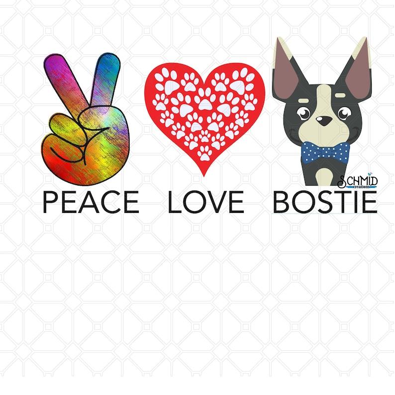 Download Boston Terrier design peace love bostie svg boston terrier ...