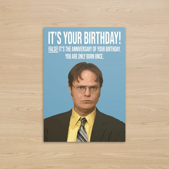 The Office Dwight Schrute Birthday Card The Office Us Etsy