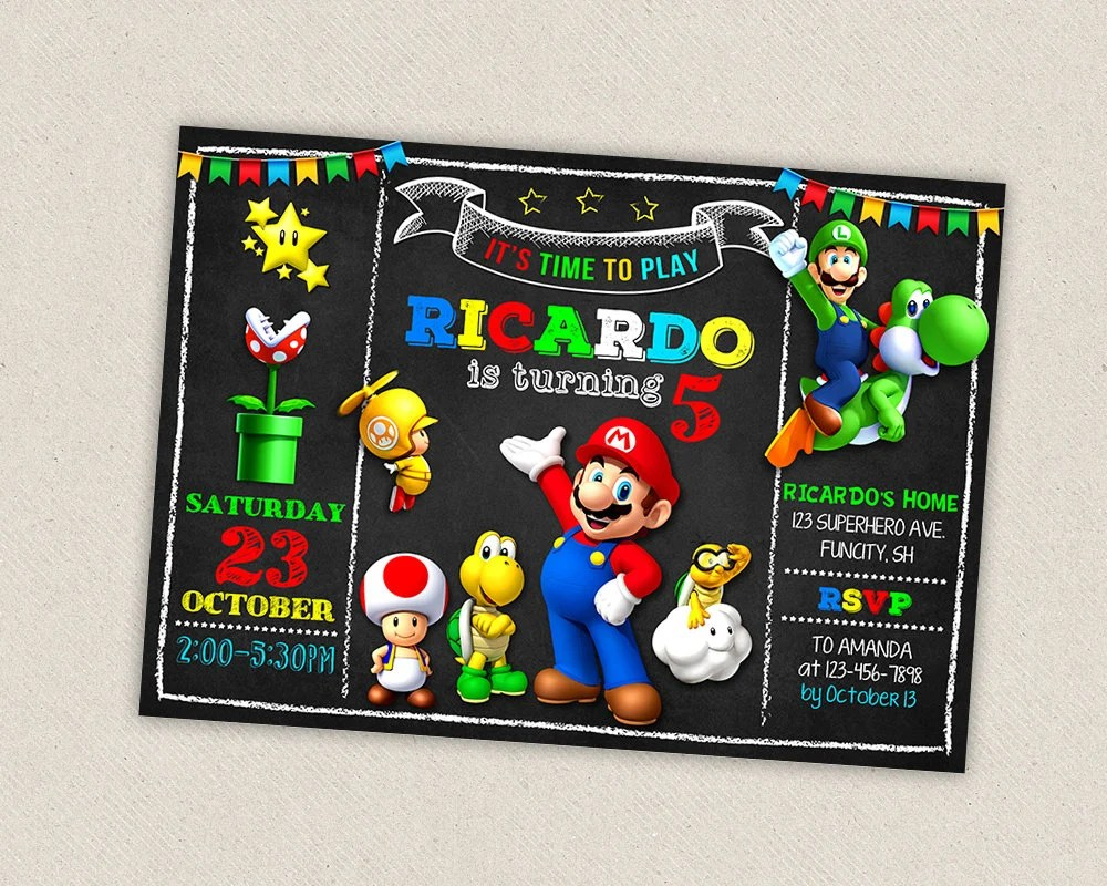 super mario invitation etsy