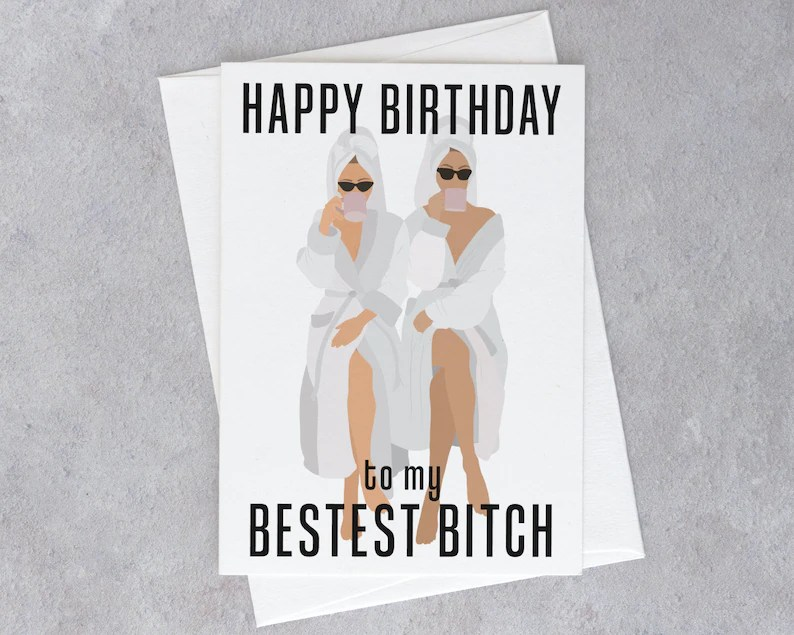 Paper Funny Happy Birthday Greeting Handmade Cards For Bff Birthday Girl Friends Sister Best Friend Cousin Bestest B Tch Birthday Card Paper Party Supplies