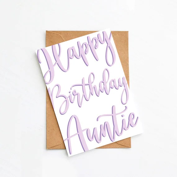 Happy Birthday Auntie Lilac Calligraphy Cursive Lettering Etsy