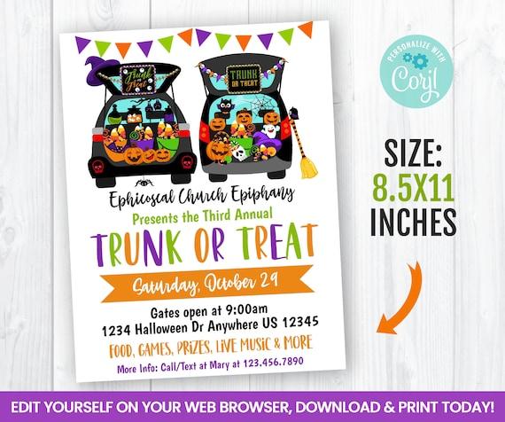 editable halloween trunk or treat flyer