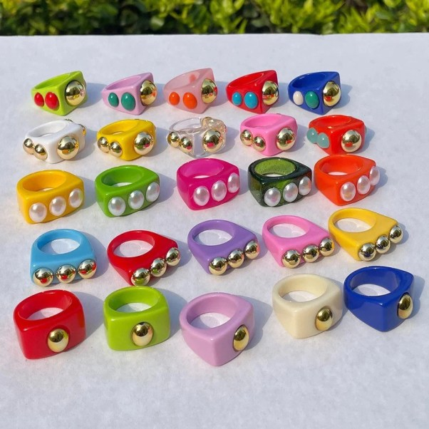 Retro Colourful Resin Rings Collections Etsy