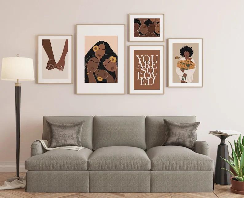 Black art Black Woman Art Set of 5 Prints Gallery Wall Art image 0