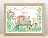 Safari Animal Personalised Nursery Prints, Watercolour Digital Wall Art, Printable Gift For New Baby or Birthday. DIGITAL DOWNLOAD