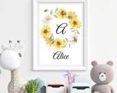 Personalised Bee Name Print. Printable Bee Sunflower Wreath Nursery or Kids Room Wall Art. Custom initial Print - Digital Download.