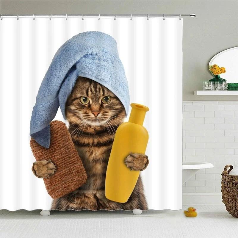 cat shower curtain etsy