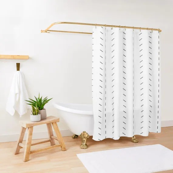 mudcloth print boho shower curtain black and white minimalist bohemian shower curtain machine washable up to 90 inches extra long
