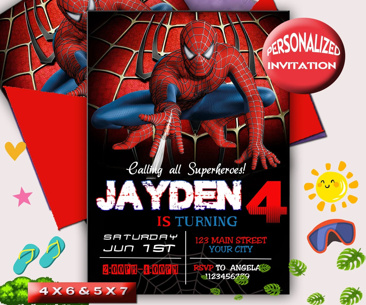 spider man invite etsy