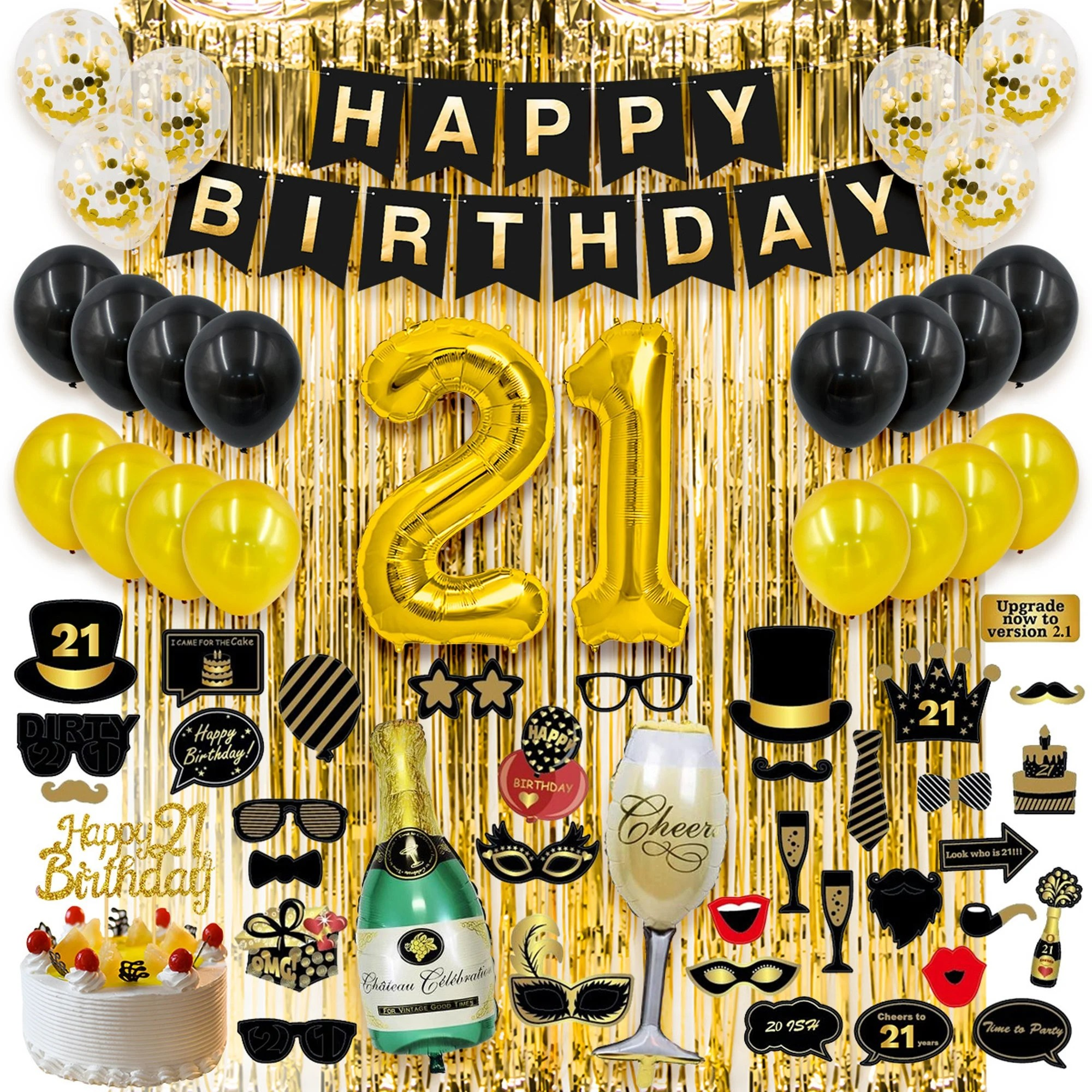 Gold Foil Fringe Curtains 21st Birthday Decorations Gifts For Her Him 21 Birthday Party Supplies Happy Birthday Banner 21 Gold Number Balloons And Confetti Balloons Men Women Party Supplies Toys