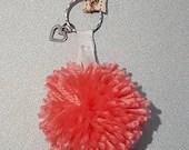 Pink heart keychain