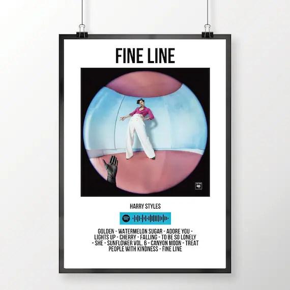 harry styles fine line album spotify poster digital download