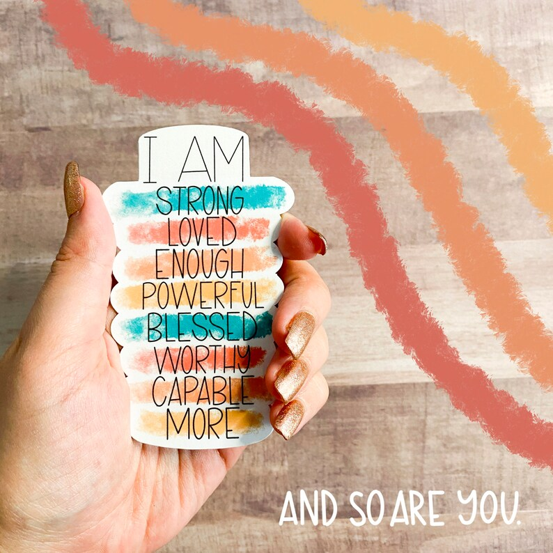 Affirmations Sticker for Laptops Water Bottles Planners image 1