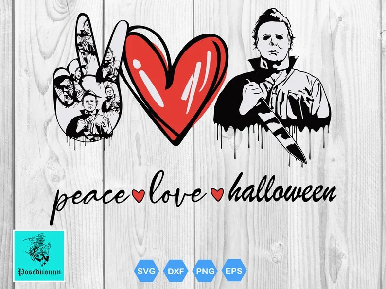 Download Peace Love Halloween SVG / Michael Myers Svg / Peace Love ...