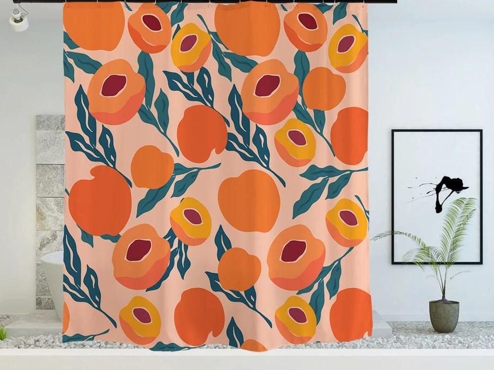 fruit shower curtain etsy