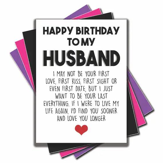 Card For Husband Happy Birthday Cards Happy Birthday To My Etsy
