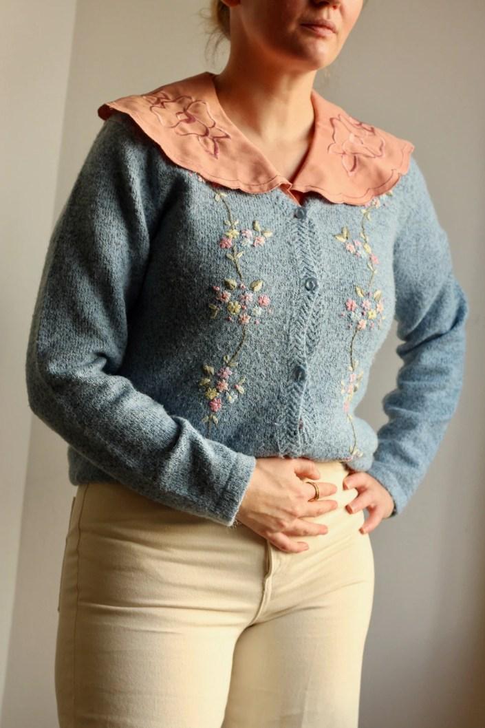 Vintage 1980s Embroidered Flora Blue Knit Cardigan image 0
