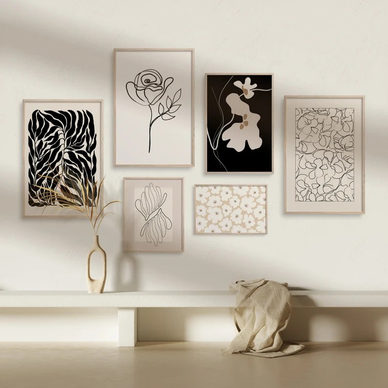 Minimalist Flowers Gallery WallDownloadable Botanical Line image 0