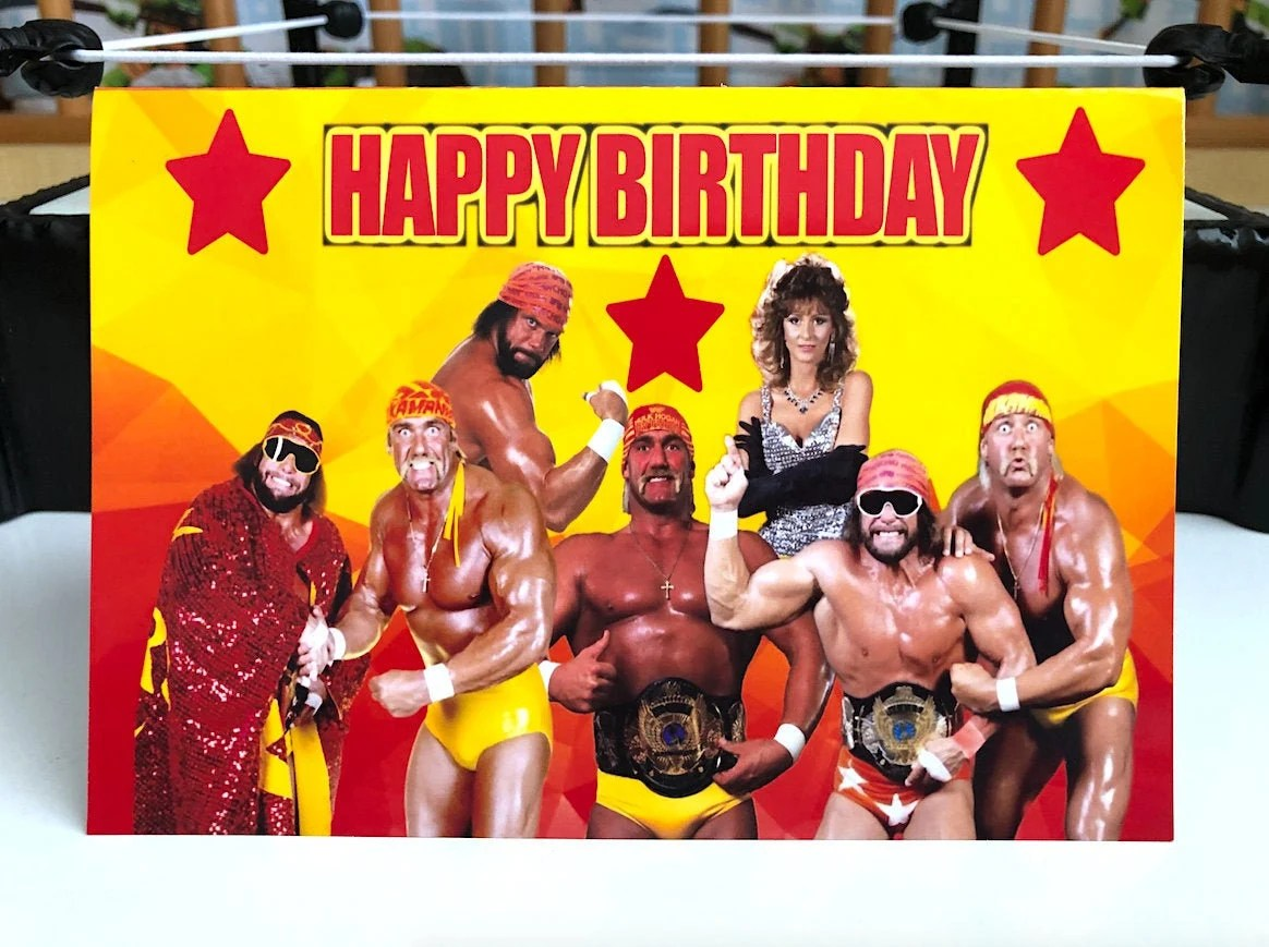 Mega Powers Happy Birthday Card Hulk Hogan Birthday Gift Etsy