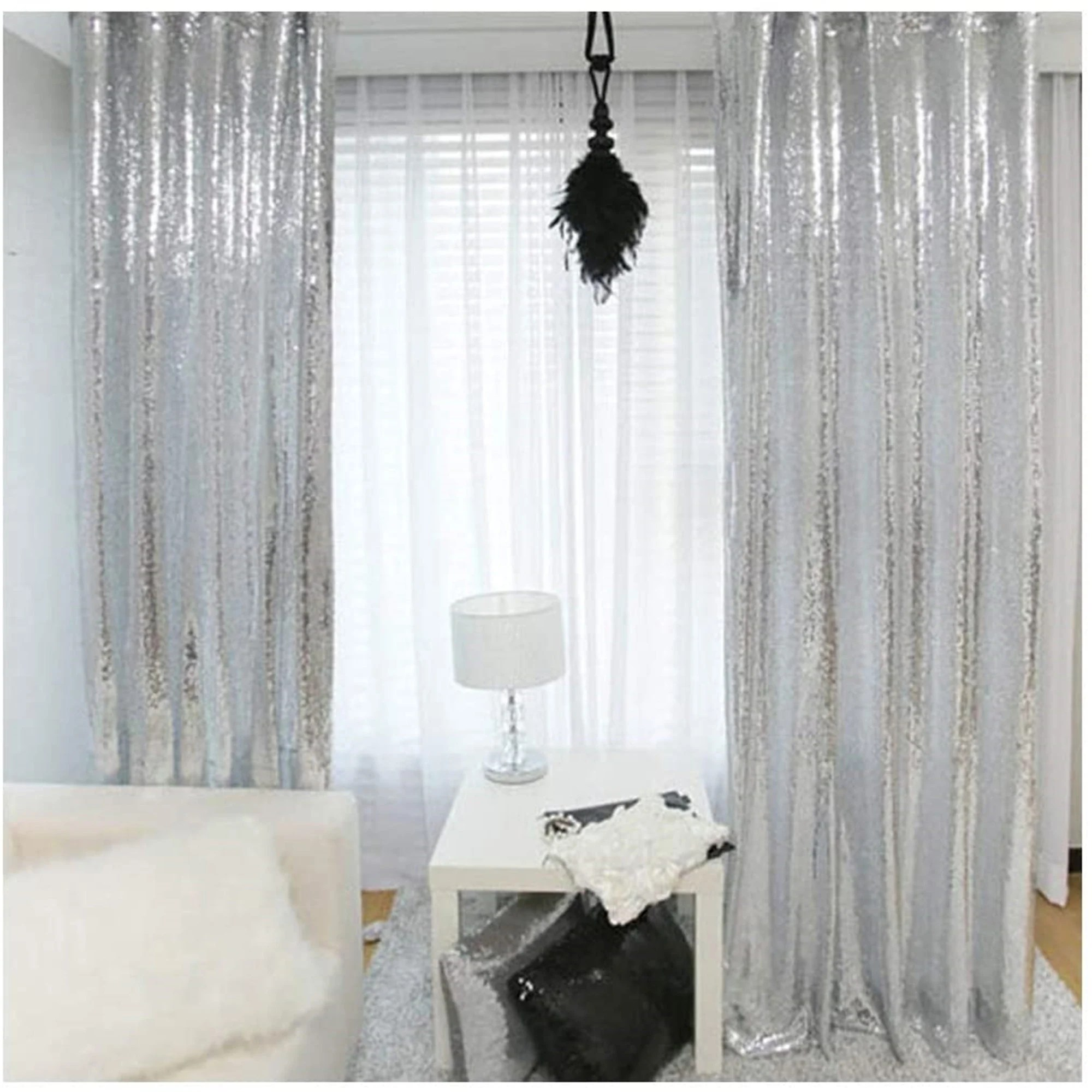 silver curtains etsy