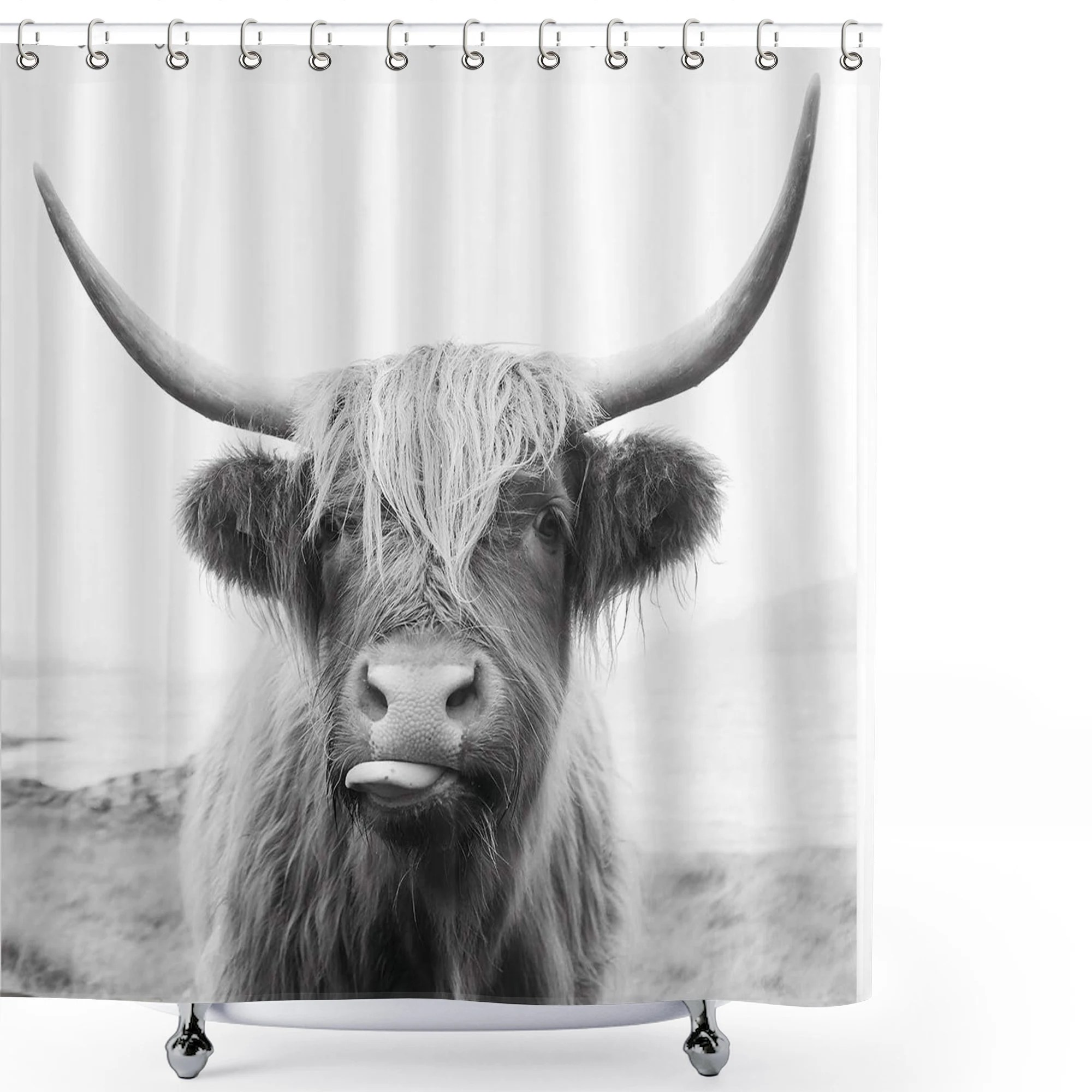 cow shower curtain etsy