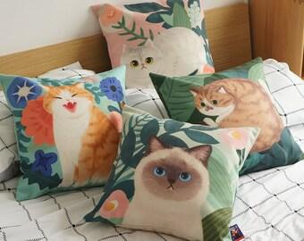 cat throw pillow etsy