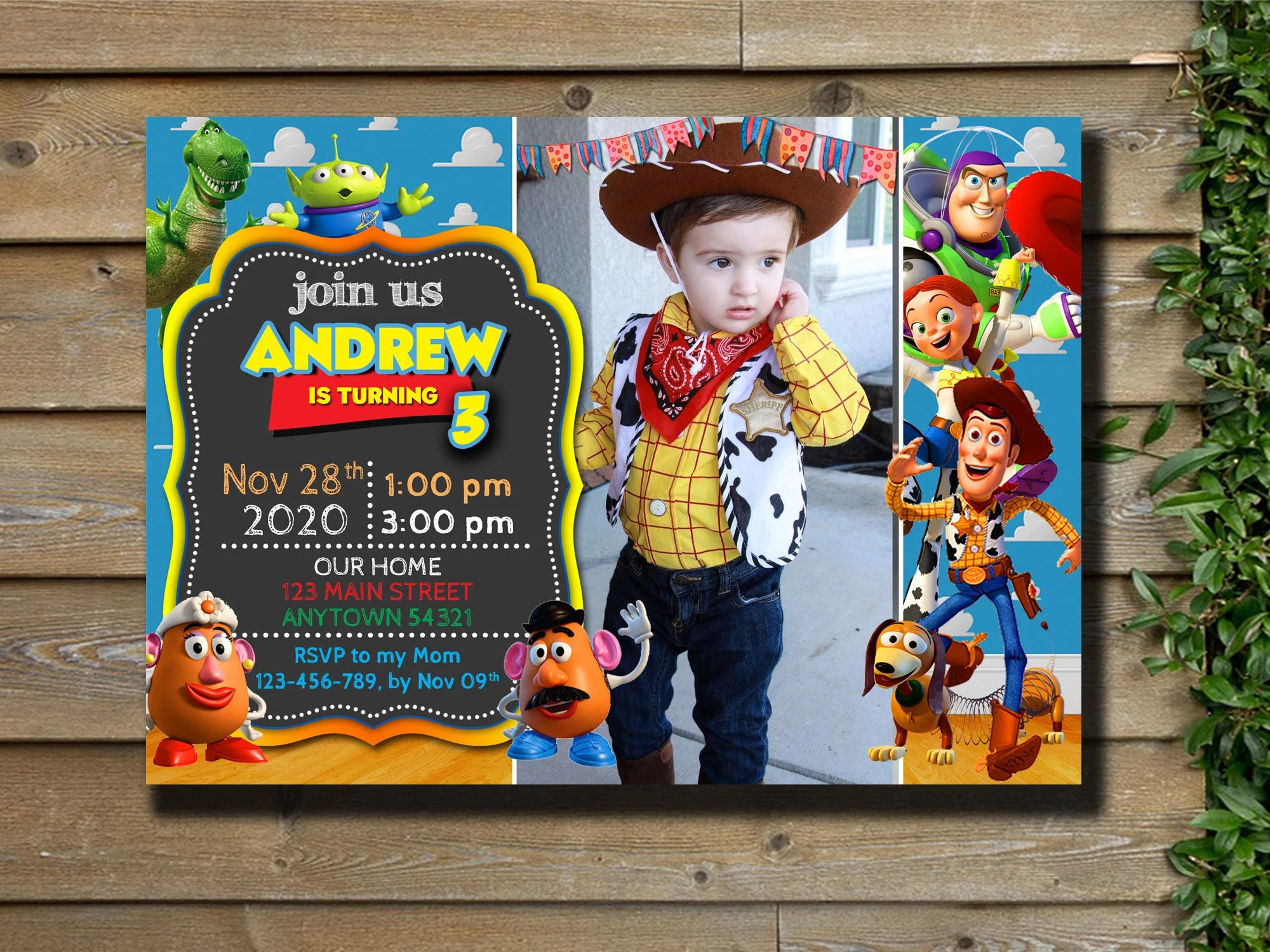 toy story invitation instant download