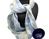 Long Silk Scarf - 100% Silk - Blue and Cream - One of a Kind - Hand Marbled - 150x40 cm - Lightweight and Floaty Wrap