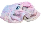 Wakumi - one of a kind, hand marbled, floaty, pastel 100% silk scarf