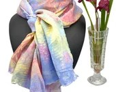 Long scarf - 100% Silk - Multicoloured - Unique - Wearable Art - Hand Marbled - 150x40 cm - Aurelia scarf