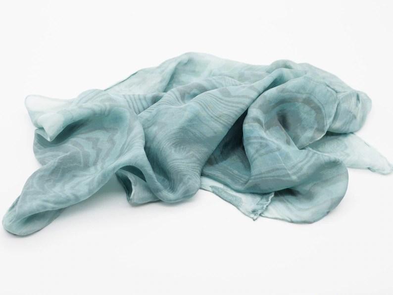 silk scarf ultra-light 100% silk suminagashi marbled scarf image 0