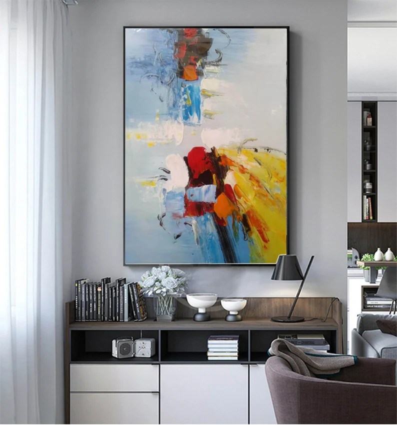 Large Yellow Painting Deep Blue Abstract Canvas Painting Minimalist Abstract Painting Canvas Abstract Oil Painting Dining Room Art Painting Painting Art Collectibles Vadel Com