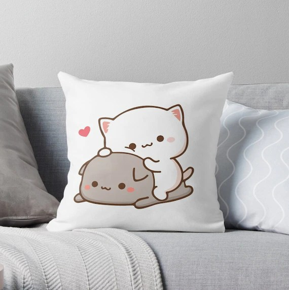peach sitting on goma mochi peach cat throw pillow cases goma pillow cover