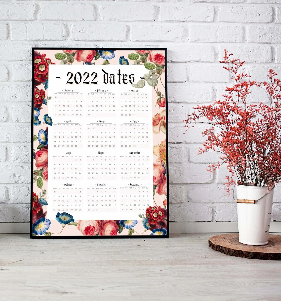 2022 Wall Calendar Year Overview Printable A3 Size Vintage image 1