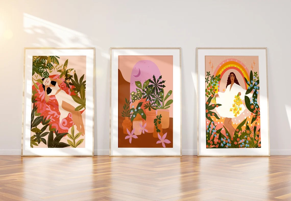 Set of 3 Plant lovers Art Print any 3 A5 A4 and A3 image 0