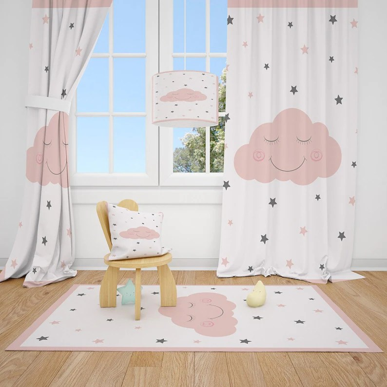 Cloud and Stars Baby Girl Room Curtains Nursery Curtains image 0