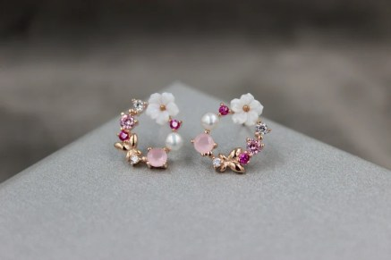 CZ Flower Pearl Earrings Stud Gift for Her Jewelry Christmas image 0