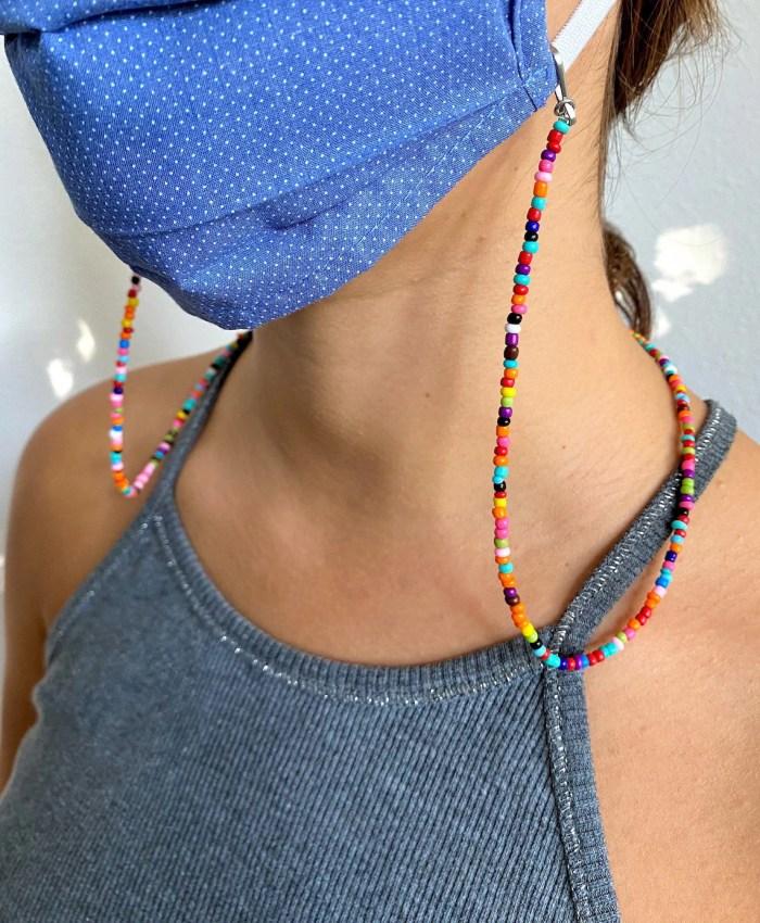 Beaded Face Mask Chain  Rainbow Mask Holder  Lanyard image 0