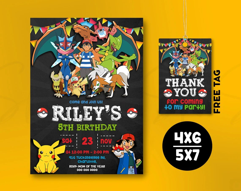 pokemon invitation instant download etsy