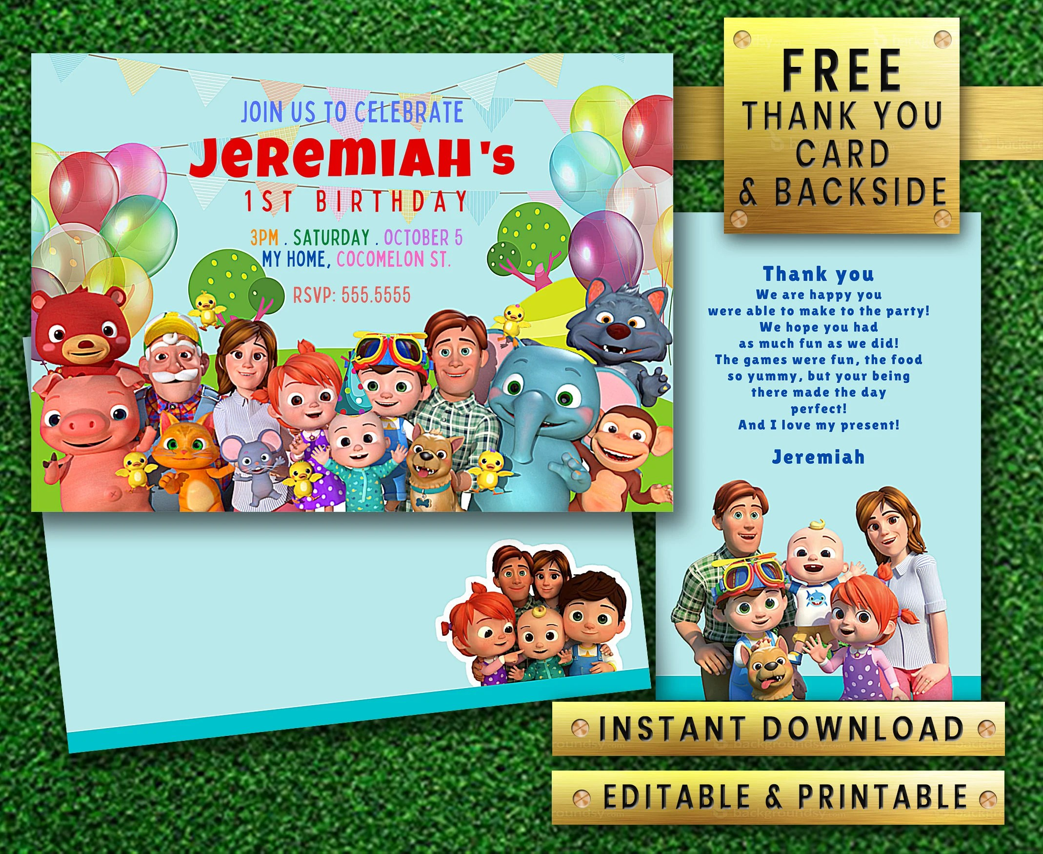 cocomelon instant download editable printable girl boy birthday party invitation free thank you card back side