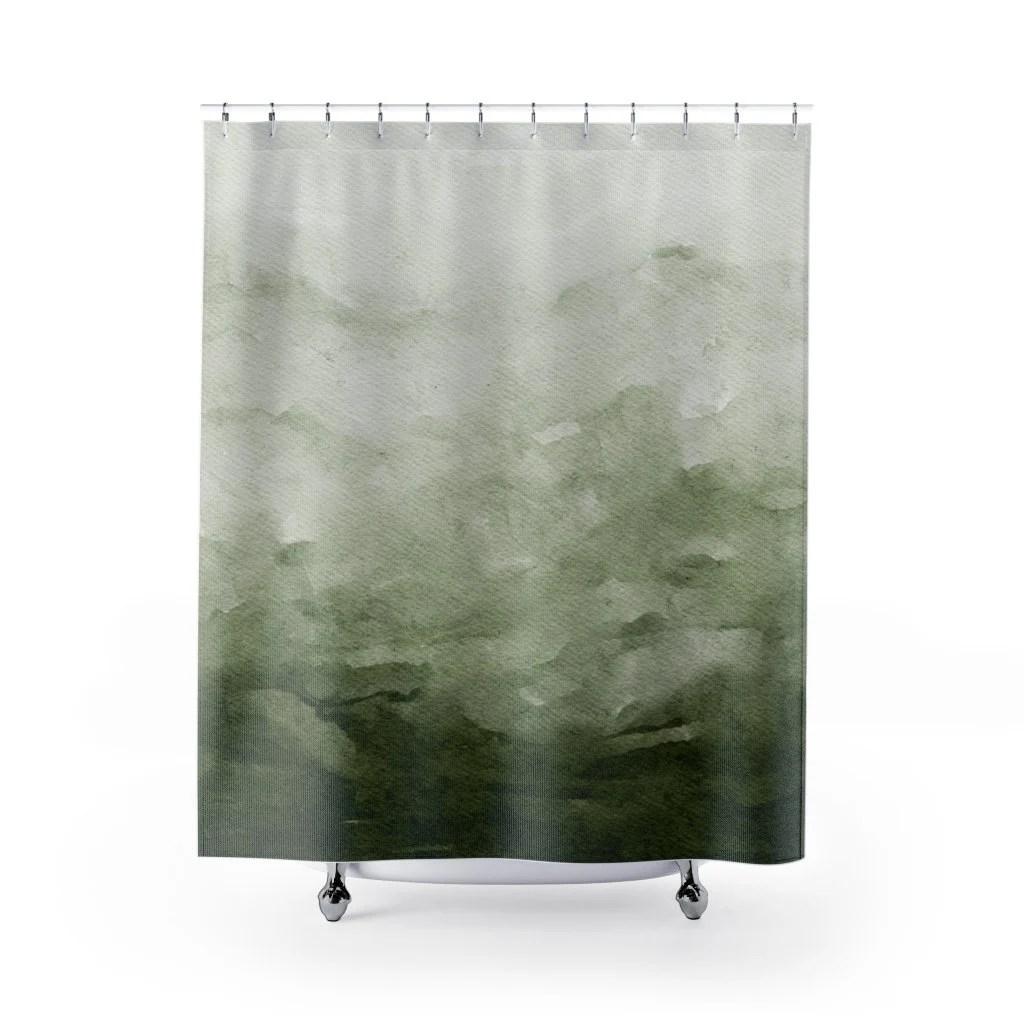 green shower curtain etsy