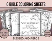 6 Bible Verse Coloring Pages / Adult • Child Coloring Sheets / Instant Download PDF