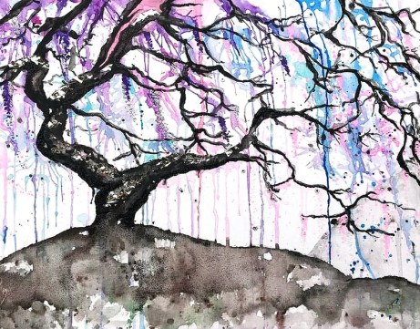 Trippy Weeping Willow Tree canvas art print painting / water image 0