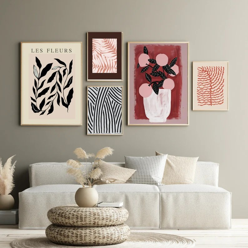 Set of 5 French Style Vintage Gallery Wall Art Set Ready Made image 0