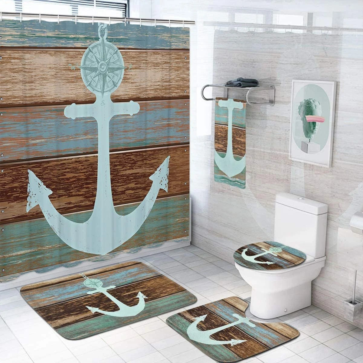 anchor shower curtain etsy