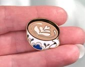 Enamel Pin - Cappuccino/Coffee with Latte Art, Colorful Enamel Pin, Lapel Pin, Gold Finish, Gift, Gift for Her, Christmas Gift, Friend Gift