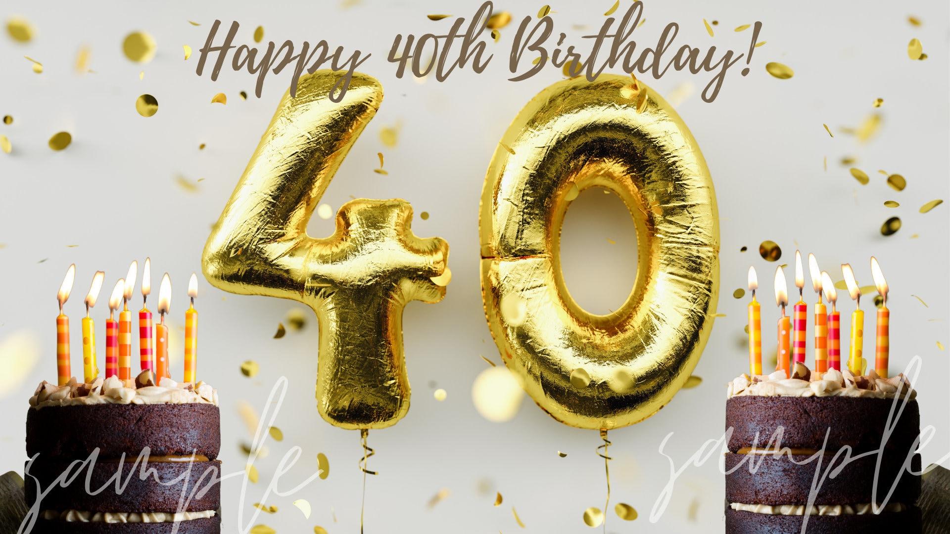 Happy 40th Birthday Zoom Virtual Background Happy Birthday Etsy