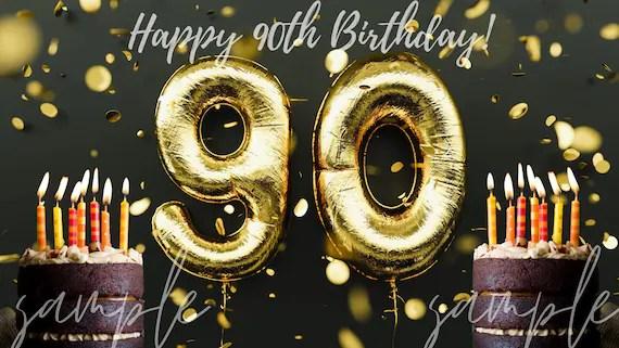 Happy 90th Birthday Zoom Virtual Background Happy Birthday Etsy