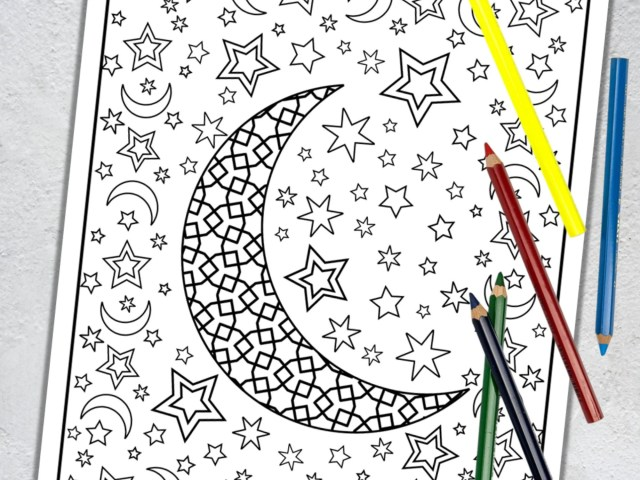 Moon and Stars Coloring Page Celestial Coloring Design  Etsy